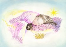 Princess. A little girl is dreaming to become a princess. Hand-made illustration Royalty Free Stock Photo