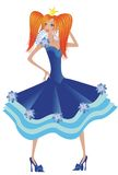 Princess. In blue dress.Illustration Royalty Free Stock Photo