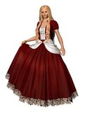 Princess 2. 3D render of a girl in a red princess dress Royalty Free Stock Image