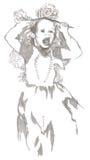 Princess. Little girl screaming like mad at the carnival princess - drawing marker Royalty Free Stock Photos