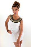 Princess. Stunning model in a white dress with amazing make up and an egyptian princess look Stock Photography