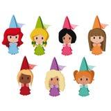 Princess. Set of lovely colorful cartoon princesses Royalty Free Stock Photo