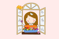 Princess. A cute princess look out of window Stock Images