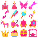 Princess accessories icons set, cartoon style Stock Photo