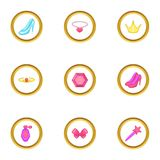 Princess accessories icons set, cartoon style Royalty Free Stock Image