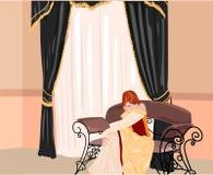 Princess alone. Vector illustration of princess in interior Royalty Free Stock Photos