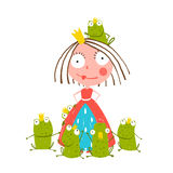 Princess And Many Prince Frogs Portrait Colored Stock Photography