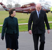Princess anne. The princess royal walking away from a helicopter Stock Image
