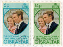 Princess Anne and Mark Phillips Royal Wedding Postage Stamps Royalty Free Stock Images