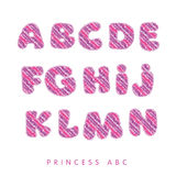 Princess baby girl text style. Crayon drawn kid style lettering kit. princess baby girl text style. little princess ABC vector illustration Royalty Free Stock Photo