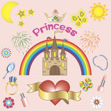 Princess background. Girls background with banner for your name Royalty Free Stock Photo