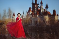 Princess on the background of the castle. Princess in a red dress on the background of an ancient castle royalty free stock photo