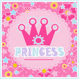 Princess background with Crown illustration in pink. Colors Royalty Free Stock Photos