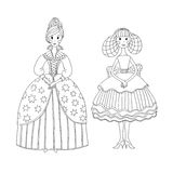 Princess and ballerina for coloring book. Royalty Free Stock Photo