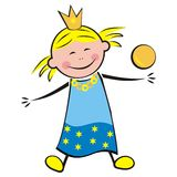 Princess and balls. Smile princess and balls. Simple illustration for children Stock Photos