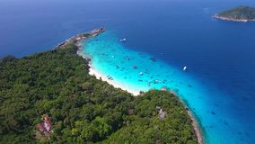 Princess Beach Aerial View. HD Slowmotion. Similan Island, Andaman Sea, Thailand. stock video footage
