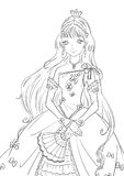 Princess. Beautiful  contour illustration with princess for coloring book Stock Images