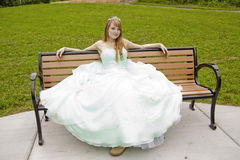 Princess on Bench with Frog. Princess sitting on a bench Stock Photos