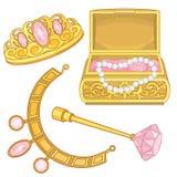 Princess biżuteria szkatuły fantazi elementy Obrazy Stock