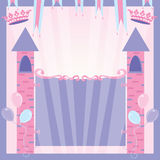 Princess Birthday Party Invitation Castle. Pretty Princess party invitation with castle towers, banners, crowns and balloons welcome's you to her birthday with vector illustration