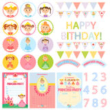Princess Birthday Party. Сollection of beautiful princesses. Set of pretty lady. Vector illustration. Party Package Stock Photo