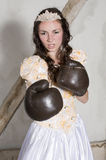 Princess with boxing gloves Royalty Free Stock Photo