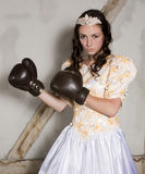 Princess with boxing gloves Stock Photography