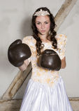 Princess with boxing gloves Stock Photo