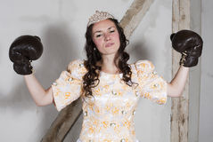 Princess with boxing gloves Royalty Free Stock Images