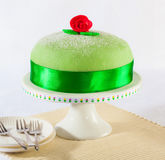 Princess cake. Swedish princess cake, marzipan birthday cake Royalty Free Stock Images