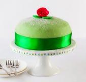 Princess cake. Swedish princess cake, marzipan birthday cake royalty free stock photo
