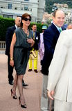 Princess Caroline of Hanover and Prince Albert II. Princess Caroline of Hanover visits the 43e Concours International de Bouquets and the 13th Reveries sur les Royalty Free Stock Photo