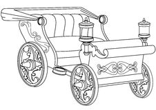 Princess Carriage Coloring Book Page. Fairy Tale Carriage Coloring Book Page Stock Image
