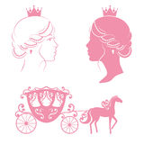 Princess and carriage with horse in pink color. Stock Photo
