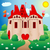 Princess castle. Fairy tale princess castle with red roofs Royalty Free Stock Photo