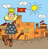Princess on a castle background, drawing cartoon Royalty Free Stock Photo