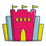 Princess castle icon, cartoon style vector illustration
