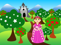 Princess and castle landscape. Cute cartoon of a brunette little princess, dressed in pink in front of colorful castle landscape Royalty Free Stock Image