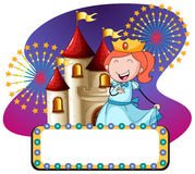 Princess and castle at night. Illustration Stock Photo