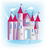Princess castle. Fairy tale logo art design vector image Stock Photos