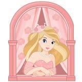 Princess in the castle window. Beautiful blond cute wonderful princess royalty free illustration