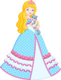 Princess with cat. A beautiful princess is holding a cat Royalty Free Stock Photography