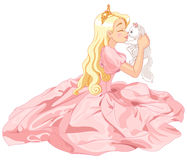 Princess and Cat. Fairytale Princess is kissing a white cat Stock Images