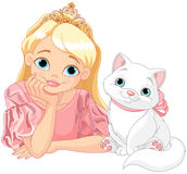 Princess and Cat. Fairytale Princess is kissing a white cat Royalty Free Stock Images