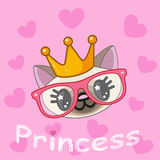 Princess Cat. With hearts on a pink background Royalty Free Stock Images