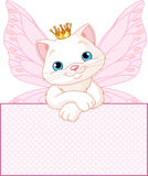 Princess Cat over a blank sign. Adorable Princess Cat looking over a blank   sign Royalty Free Stock Photos