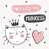 Princess cat. Vector illustration, cute and simple scandinavian style cat and you are my princess text Stock Photo