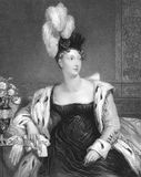 Princess Charlotte Augusta of Wales. (1796-1817) on engraving from the 1800s. Engraved by H.T.Ryall from a painting by A.E.Chalon and published in London by Royalty Free Stock Photo