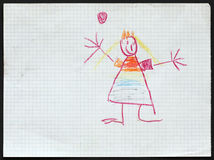 Princess. Child's Drawing. royalty free stock image