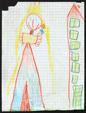 Princess. Child's Drawing. stock illustration
